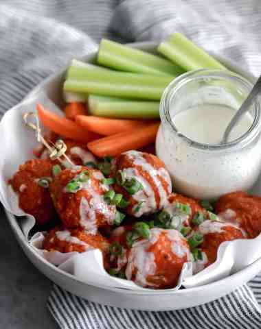 whole30 buffalo chicken meatballs in the air fryer