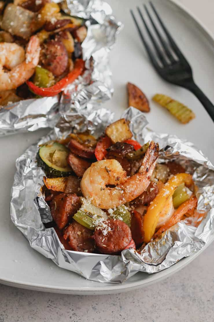 cajun shrimp and sausage foil packs