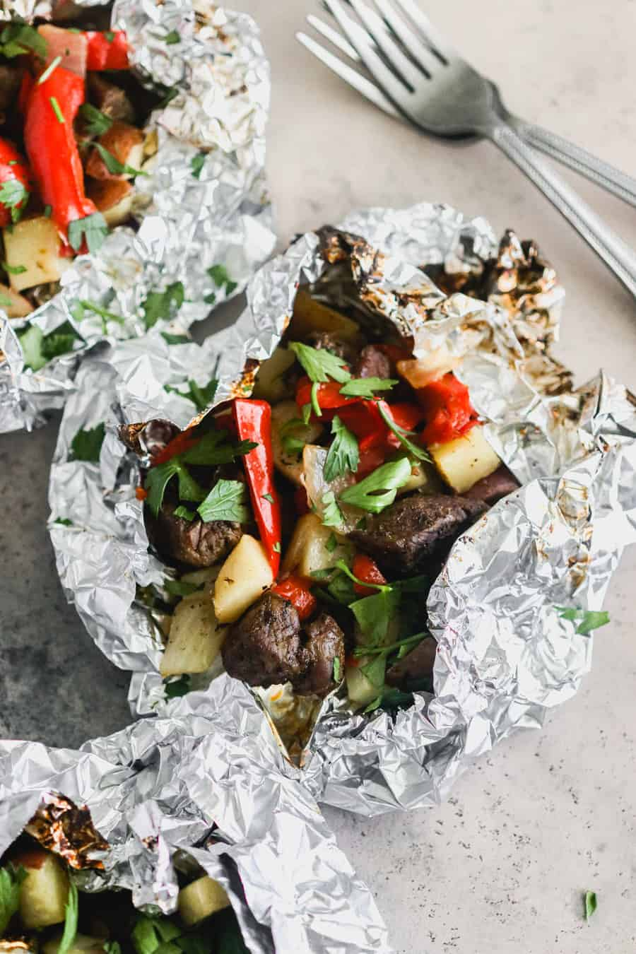 Steak and Pepper Foil packets on the grill