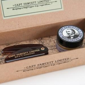 Captain Fawcett - kit pente bigode + cera