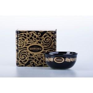 Taça de barbeiro porcelana preta e dourada