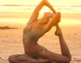 yoga stretch at sunset