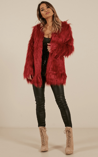 faux fur coat burgundy online