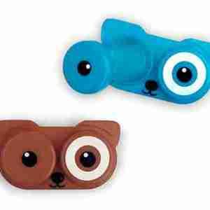 Astuccio p.ta lenti a contatto Dog azzurro/marrone