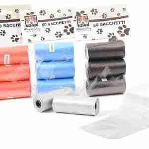 60 sacchetti igienici per animale domestico cm 22x30 colori asso