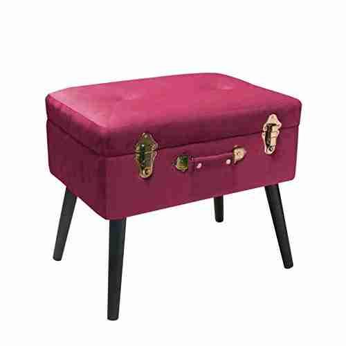 Bauletto-poggiapiedi rosa scuro Velvet Pusher