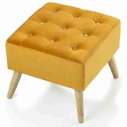 Panchetto quadrato imbottito giallo in velluto Montemaggi