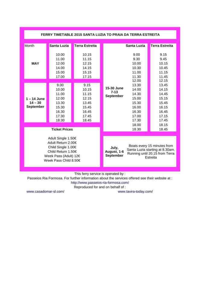 Terra Estreita Ferry Timetable from Santa Luzia