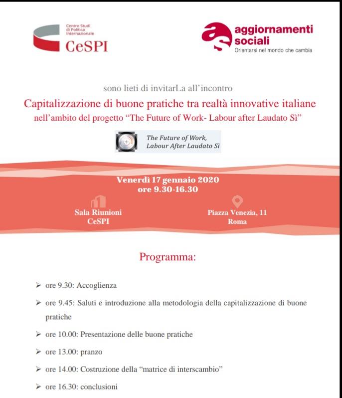 """Casa don Puglisi al """"The Future of Work. Labour after Laudato Si'"""""""