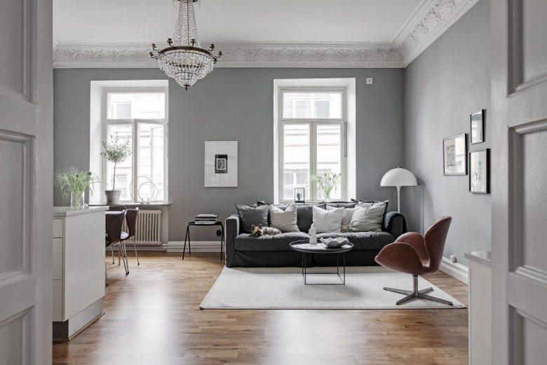 La scelta dei colori per pareti in un salotto moderno: Pareti Del Soggiorno In Color Argento 10 Idee E Foto