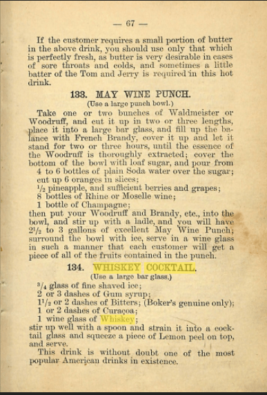 Whiskey Cocktail 1882 Recipe