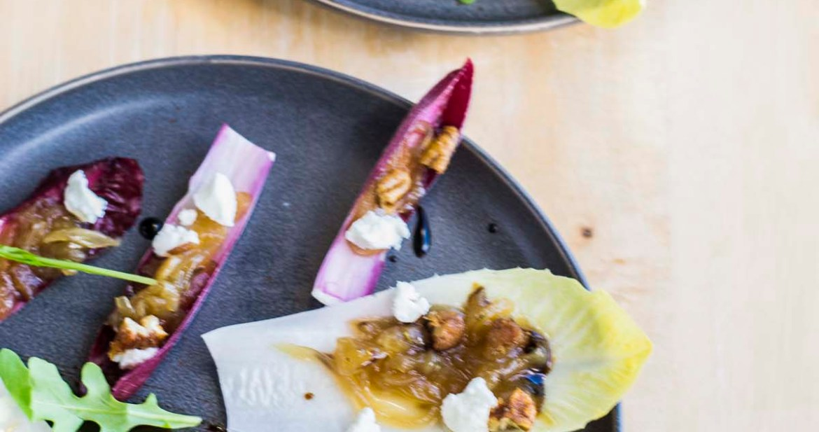 Endive Boats with goat Cheese and Onion Jam