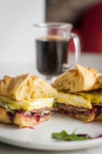 close up Breakfast Croissant Sandwiches cut in half