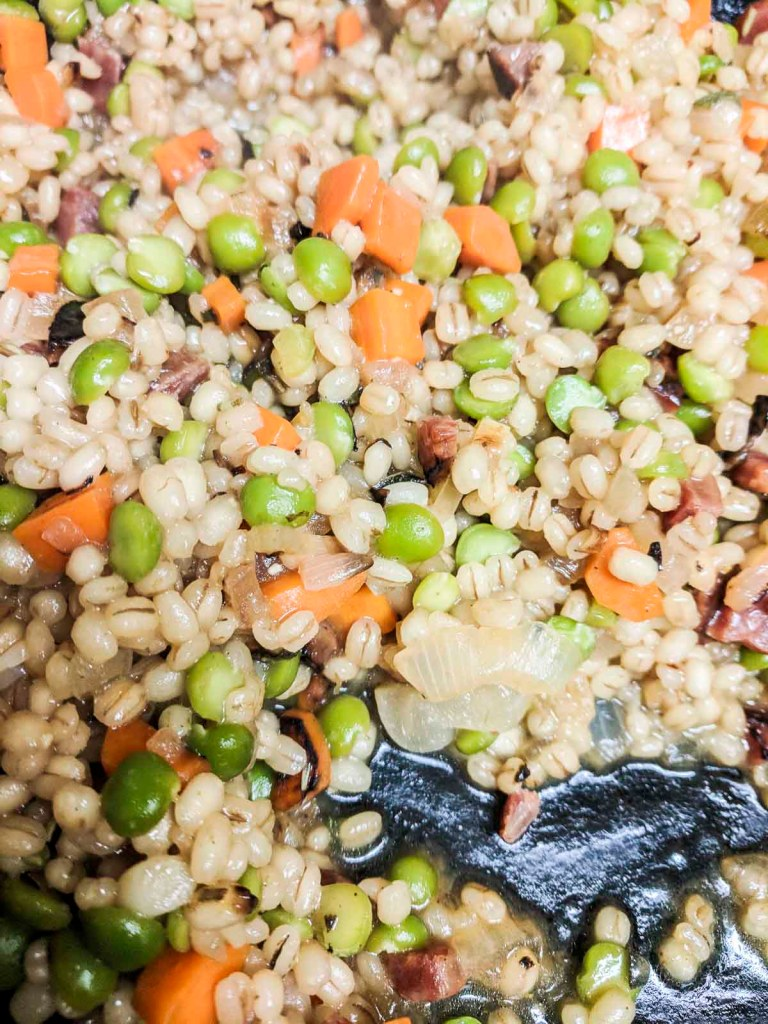 Barley risotto with water absorbed