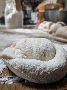 pretzel dough on cutting board