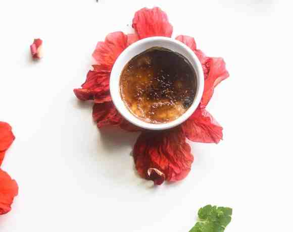 Creme brulee pot in flowers