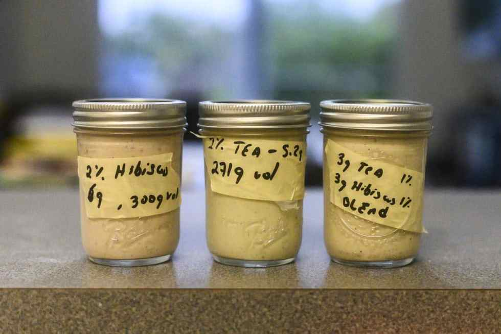 Jars of Hibiscus Tea Creme Brulee in counter