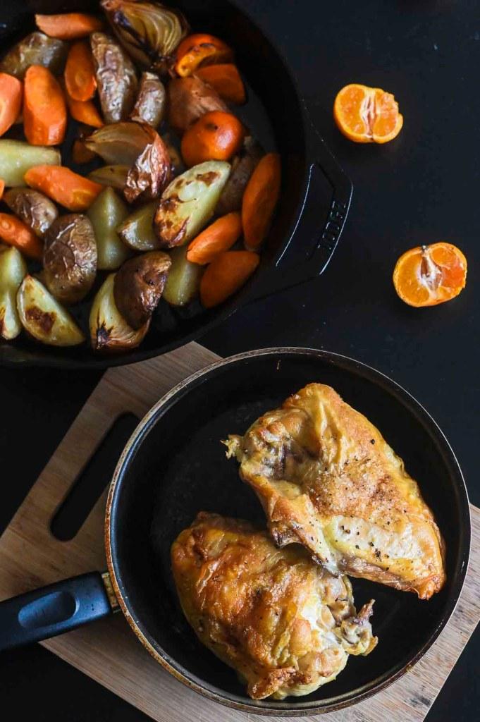 roast chicken on table