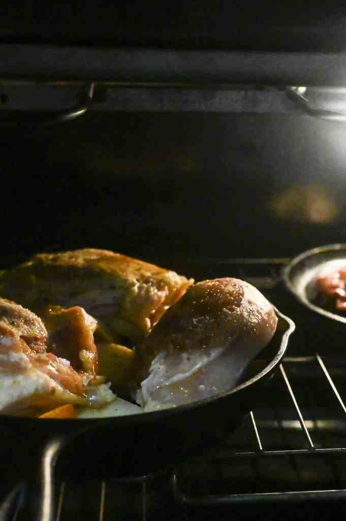 chicken in the oven