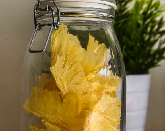 Pineapple chips in jar