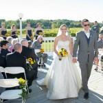 Bride and groom walking down aisle, Patio Ceremony, Wedding Receptions and Ceremonies at Casa Larga Vineyards