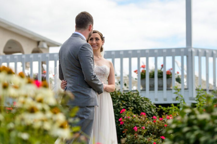 Bride and groom on the patio, Wedding Ceremonies and Receptions at Casa Larga Vineyards
