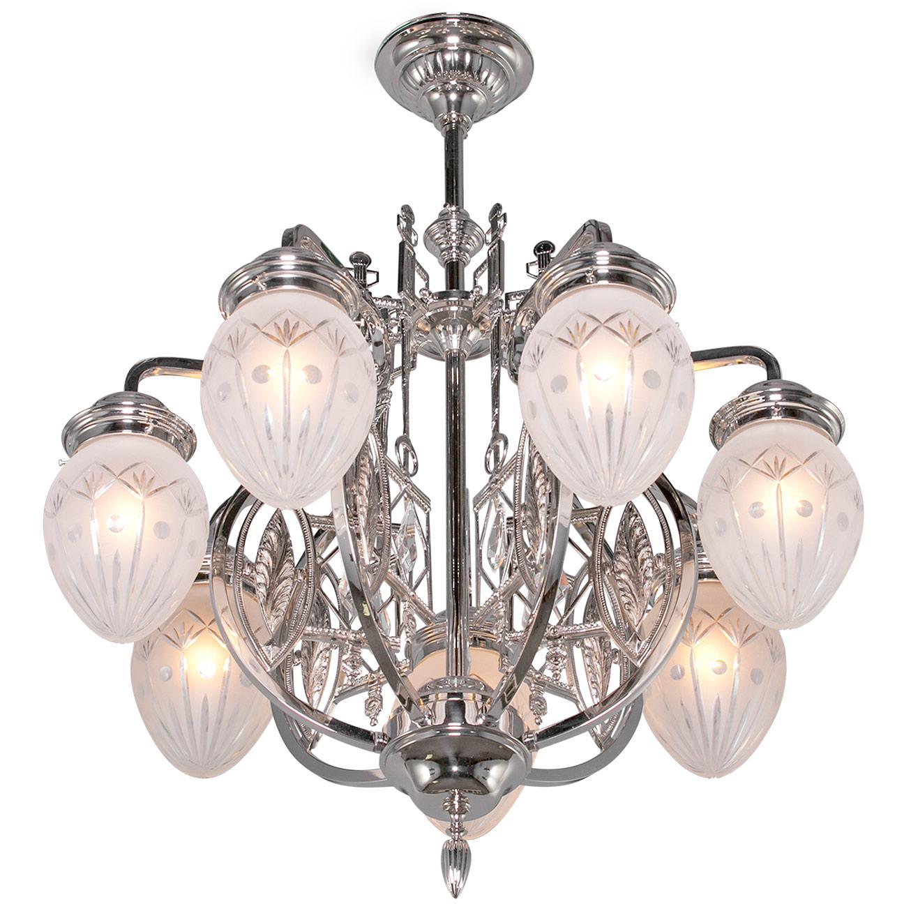 7 armed art nouveau chandelier pannonia
