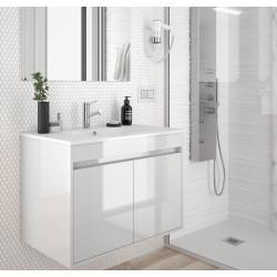 meuble bain suspendu noja 600 700 et 800 stratifie bois ou laque avec plan vasque ceramique et 2 portes