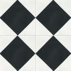 carreau de ciment colore damier noir et blanc nb03