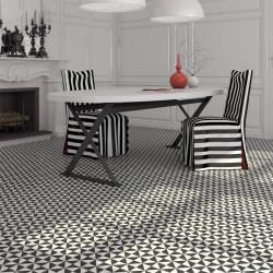 carrelage gres effet carreau ciment 1900 terrades grafito noir et blanc 20x20cm