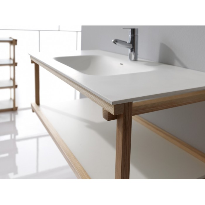Meuble Bain Suspendu Blev Chene Ou Noyer Et Simple Vasque Centree Resine Largeur 80 Ou 90cm Casalux Home Design