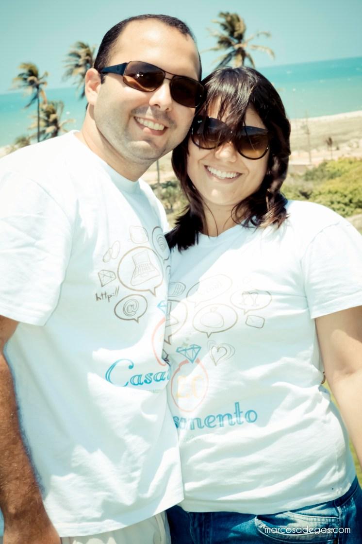 Os blogueiros Natália e Rafael, no cenário do editorial (Aquiraz Riviera).