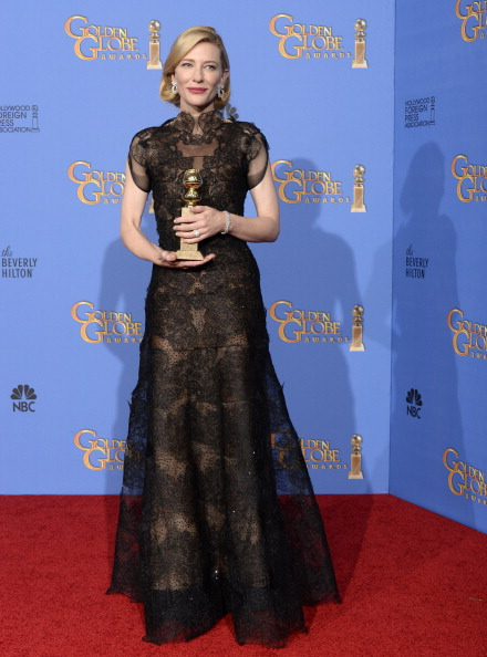 BEVERLY HILLS, CA - JANUARY 12: 71st ANNUAL GOLDEN GLOBE AWARDS -- Pictured: Actress Cate Blanchett poses with her award for Best Performance by an Actress in a Motion Picture – Drama for 'Blue Jasmine' in the press room at the 71st Annual Golden Globe Awards held at the Beverly Hilton Hotel on January 12, 2014 -- (Photo by Kevork Djansezian/NBC/NBC via Getty Images)