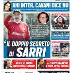 """Prima Pagina Tuttosport: """"Il doppio segreto di Sarri"""""""