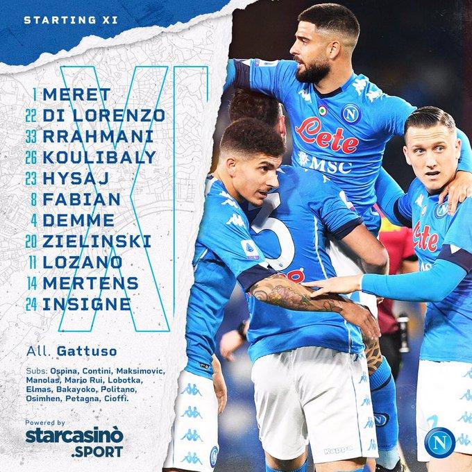 SSC Napoli formazione ufficiale Juventus