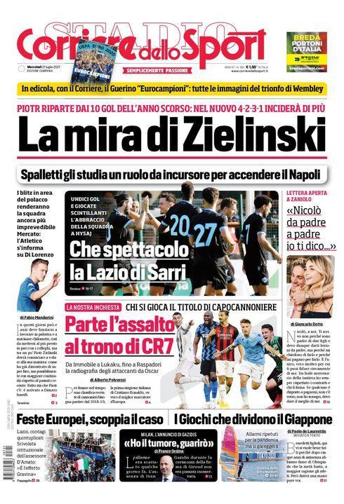 Prima Pagina Corriere dello Sport edizione Campania 21 Luglio