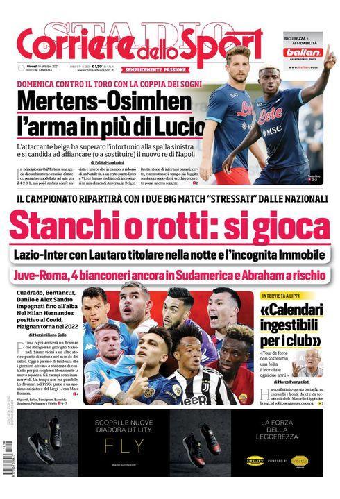 Prima Pagina Corriere dello Sport edizione Campania 14 Ottobre