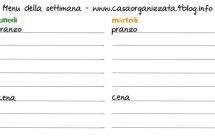 Planning per pianificare i menu settimanali [da scaricare e stampare]