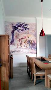 Casart customer After Impasto Tree Mural in Kitchen3 with self-adhesive wallpaper