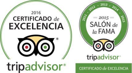 CERTIFICADO DE EXCELENCIA POR TRIP ADVISOR Salón de la Fama: Ganadores por 6 Años Siguentes.