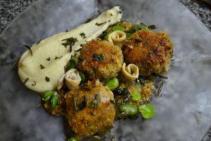 Calves' Brains a la Romana, Favas, Boquerones, Star Anise Potato Puree