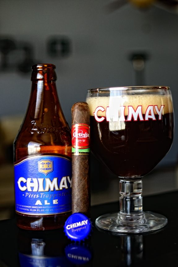 """Ortega Serie """"D"""" with some Chimay Blue Grand Reserve"""