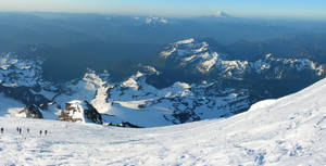 Panorma from high on the slopes of Mount Rainier