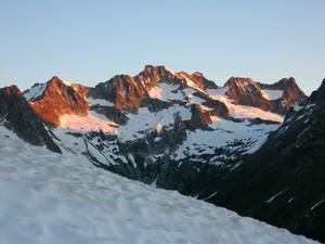 Sunrise alpenglow on Mount Logan
