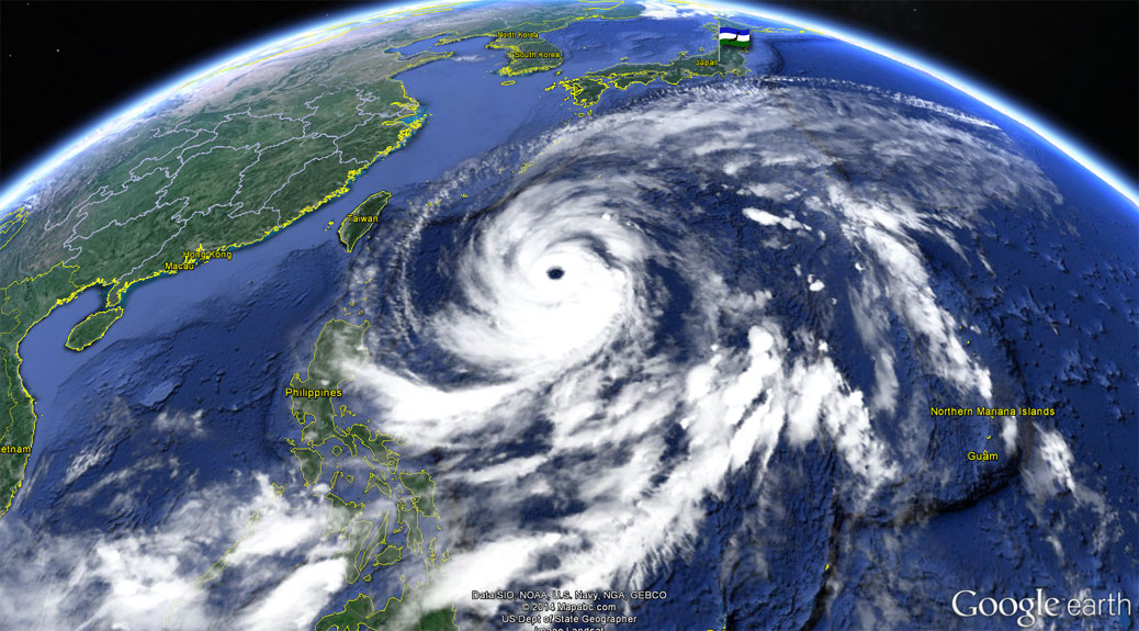 Typhoon Vongfong on Google Earth