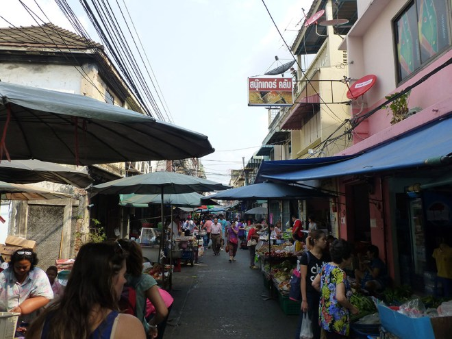 We did a food tour of Bangkok's Old City and saw some things off the beaten tourist track, including the fresh produce at Trok Mor Morning Market