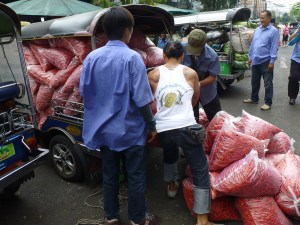 ... unfortunately, they loaded it a little too full and the bags all tumbled out. It drew quite a crowd of locals.