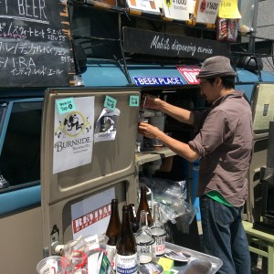 Oregon Beer Geeks is a company in Japan that imports beer from Oregon and sells it online. At the UN Market, they had two beers from Burnside Brewing and one from The Commons Brewery, both based in Portland.