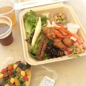 """Lunch at the UN Farmers Market—a vegetarian take on Hawaiian plate lunch, a hummus and veggie bagel pizza and Burnside Brewing's """"Too Sticky To Roll India Red Ale"""" and """"Sweet Heat"""""""