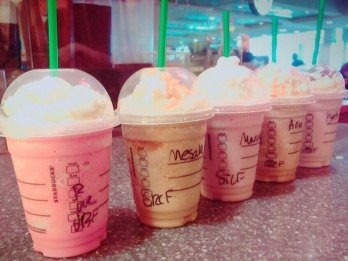 Starbucks in the U.S. is a lot sweeter than in Japan... none of these drinks actually look like coffee